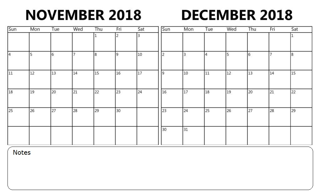 Calendar November December 2018 Printable | Calendar 2018 Design with regard to Calendar 2018 November December