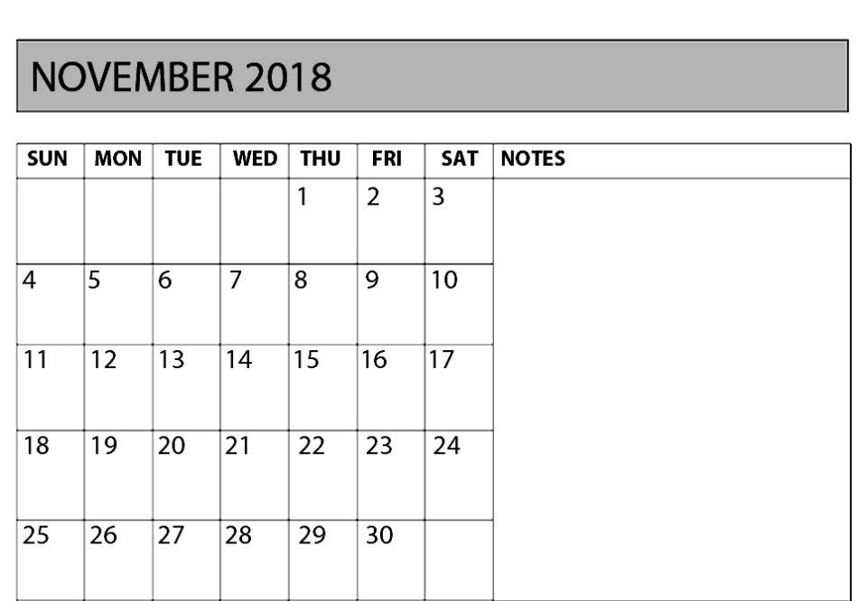 Blank November 2018 Calendar With Notes