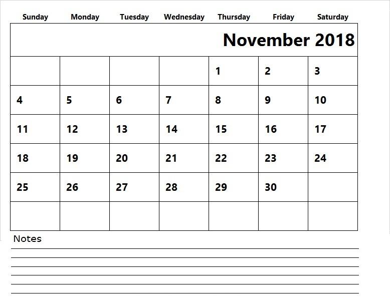 Calendar of November 2018