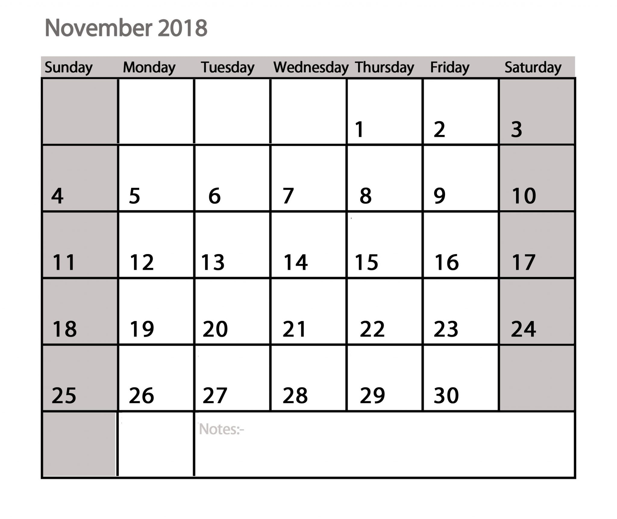 Free Calendar November 2018