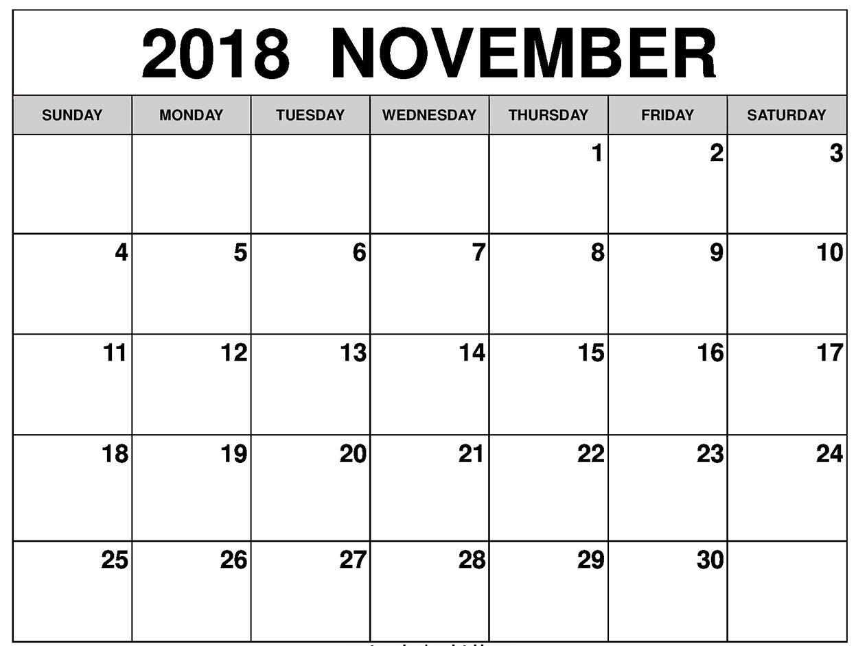 Free November 2018 Printable Calendar