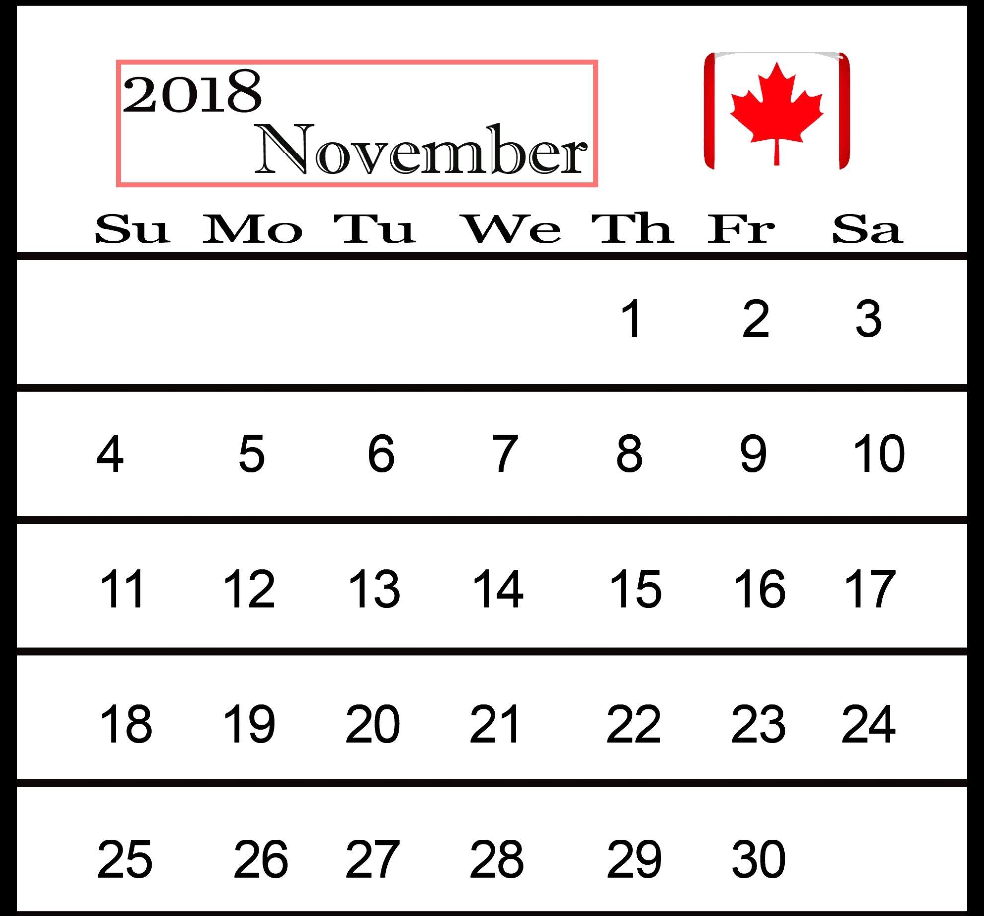 November 2018 Calendar Holidays