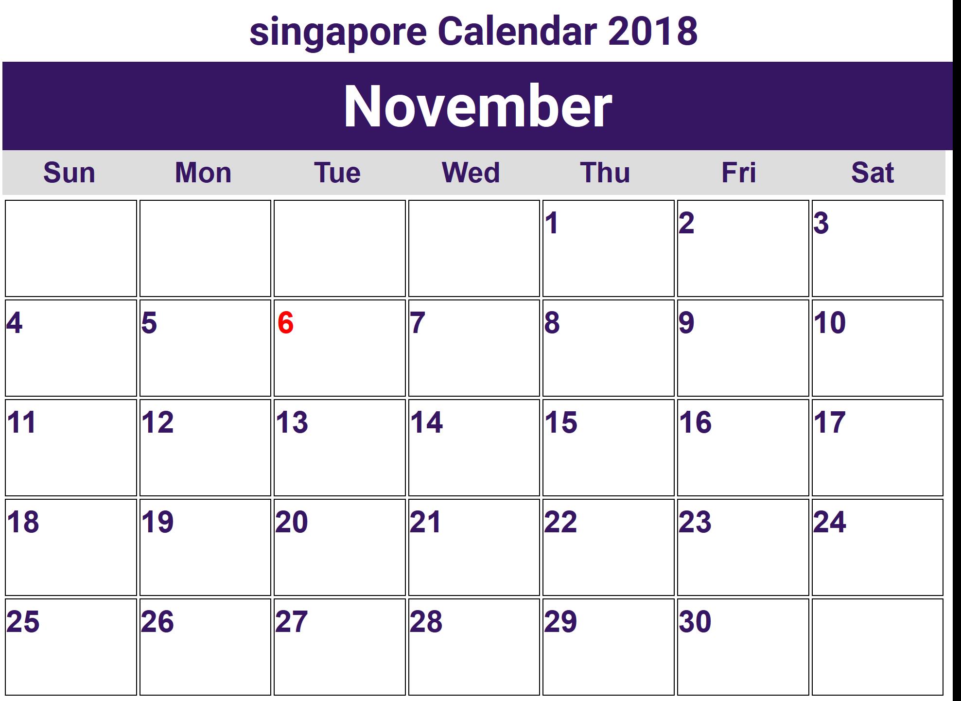 November 2018 Calendar Singapore Holidays