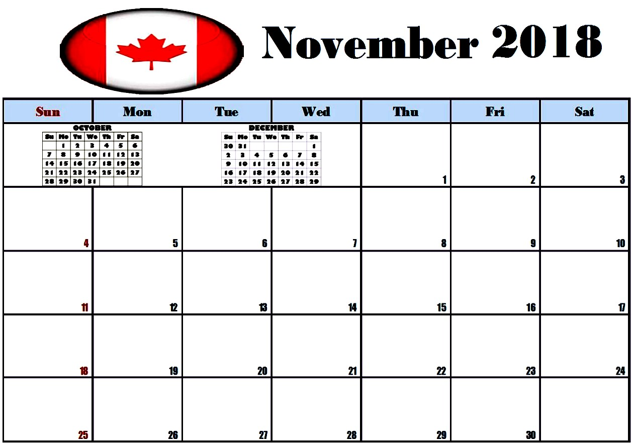 November 2018 Calendar With Holidays Canada