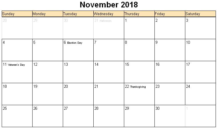 November 2018 Calendar With Holidays India