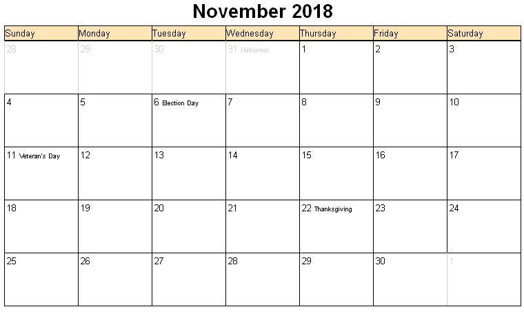 November 2018 Calendar With Holidays India