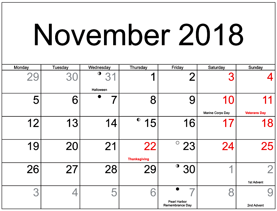 November 2018 Calendar With Holidays Moon Phases