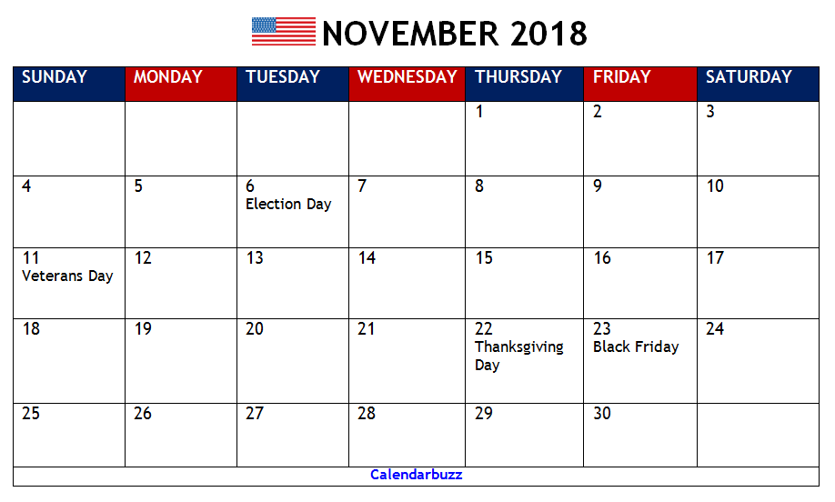 November 2018 Calendar With Holidays Printable