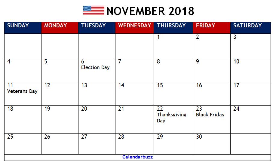 November 2018 Calendar With Holidays Printable