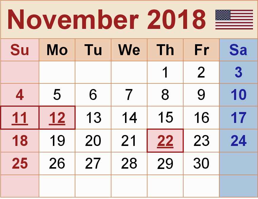 November 2018 Calendar With Holidays UK