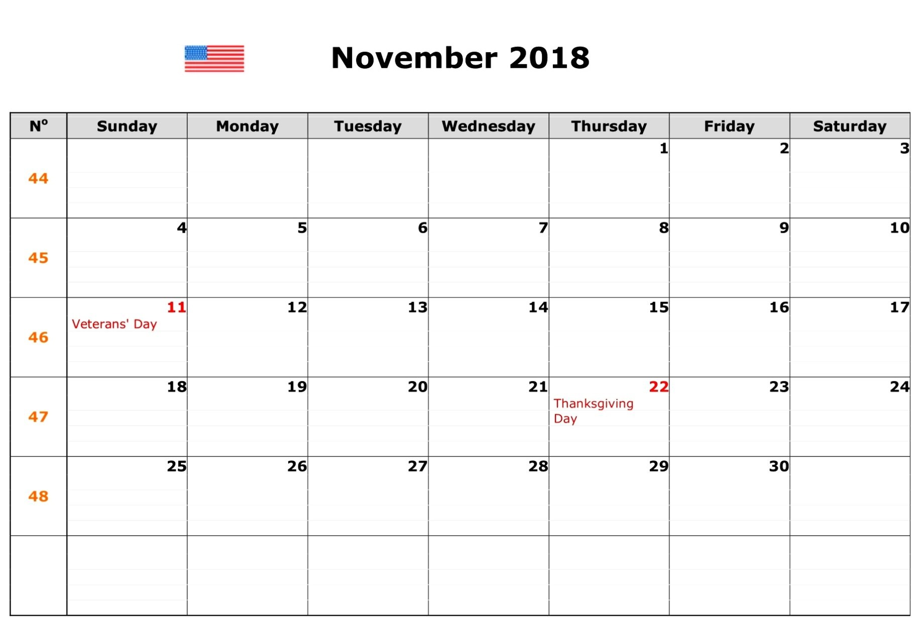 November 2018 Calendar With Holidays USA