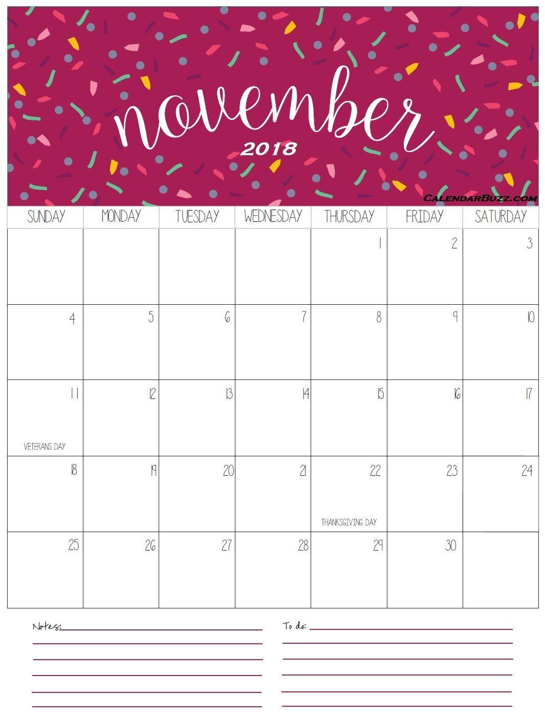 November 2018 Calendar with Notes