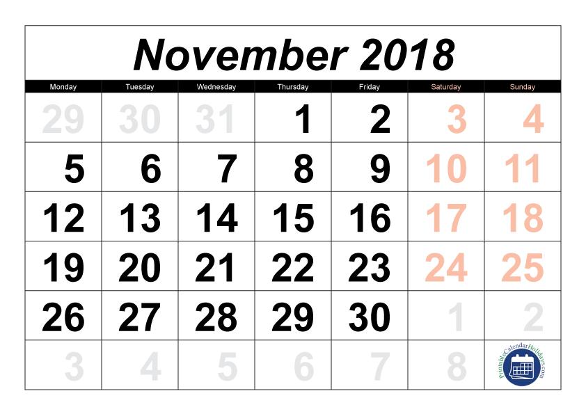 November 2018 Printable Calendar Template