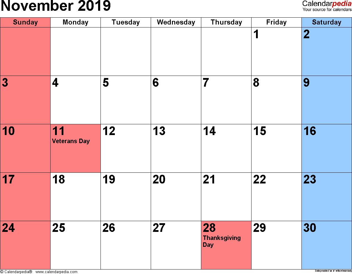 2019 Calendar With Holidays November And December Free 31+ November 2019 Calendar with Holidays Blank Printable Notes
