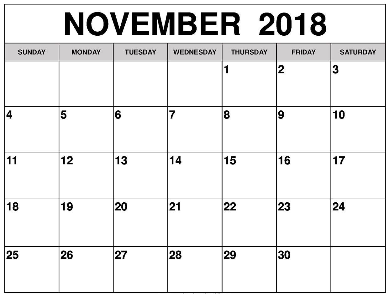 Printable Calendar November 2018 Excel