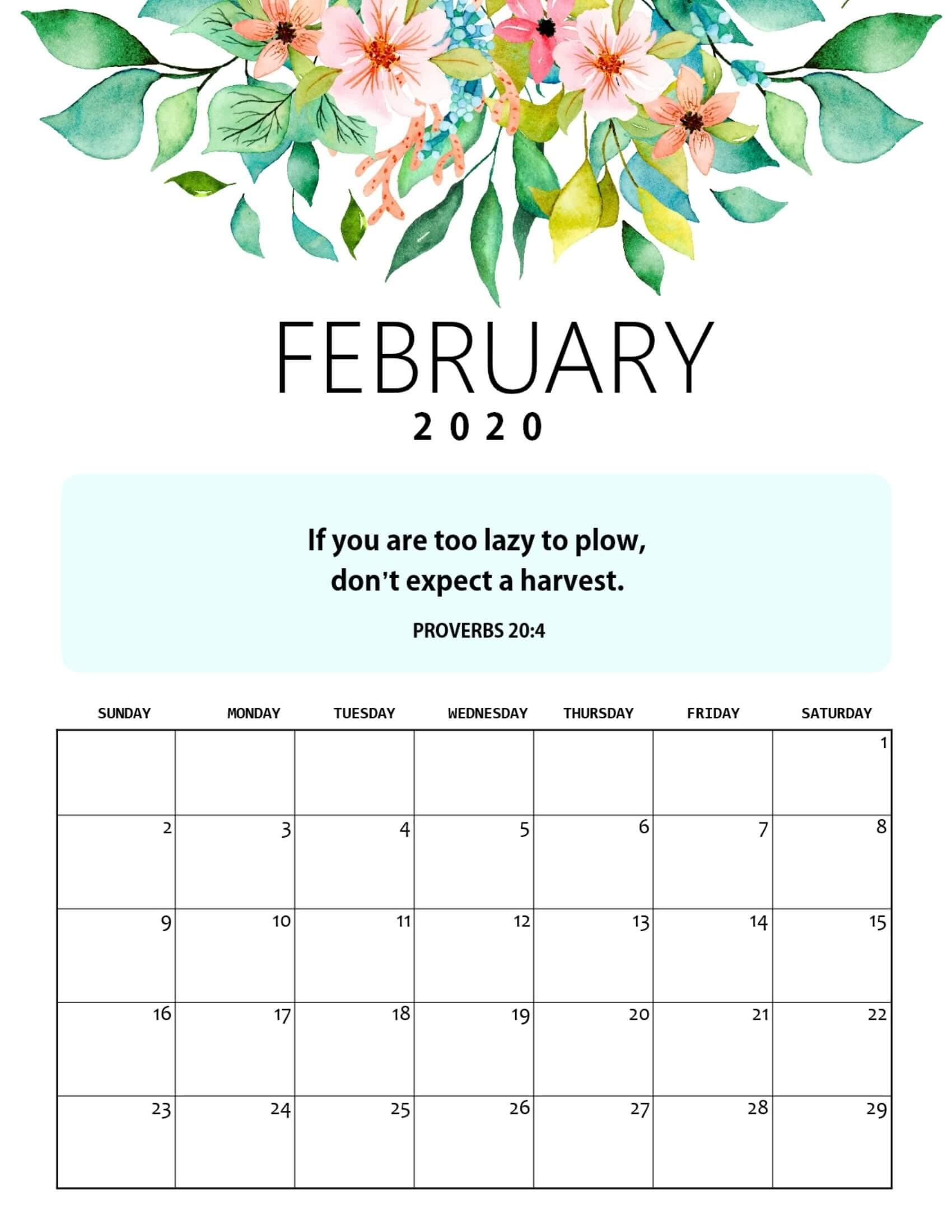 Calendar February 2020 Cute