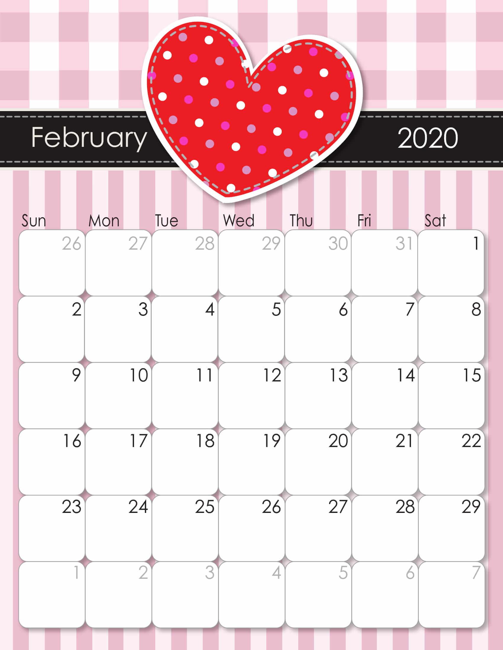 Cute February 2020 Calendar Colorful