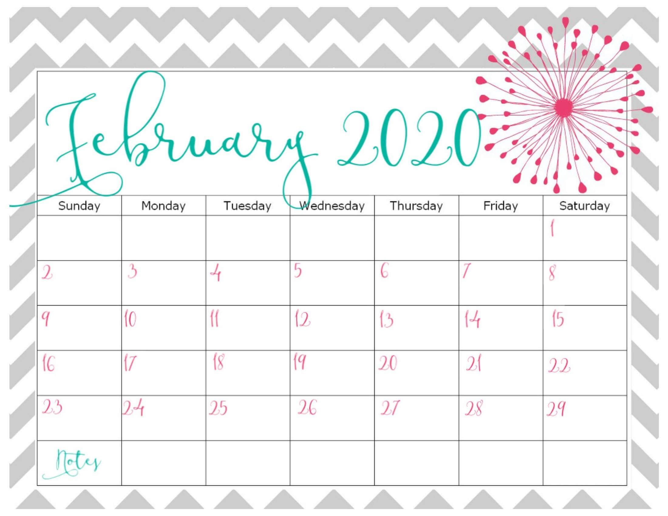 Cute February 2020 Calendar Design