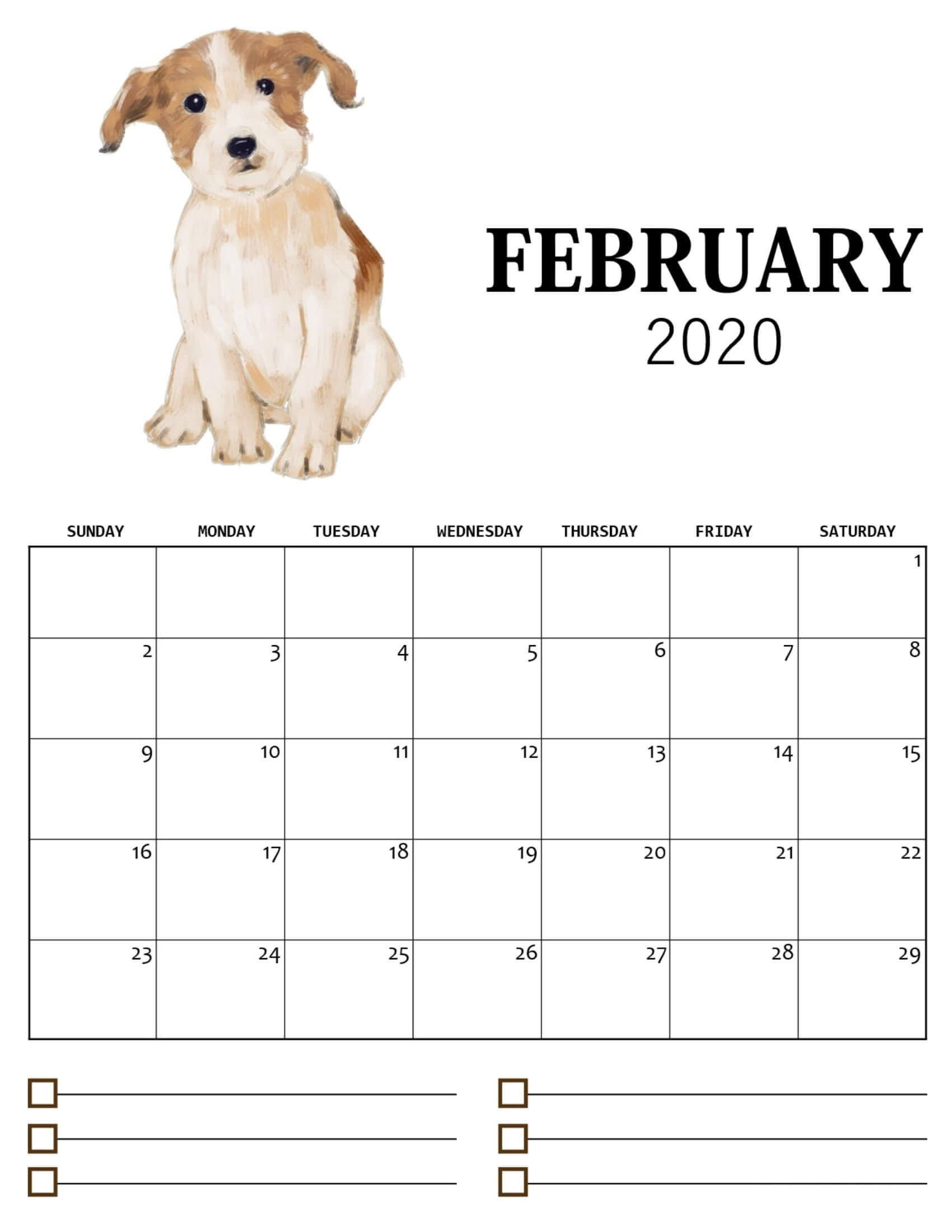 Cute February 2020 Calendar For Kids