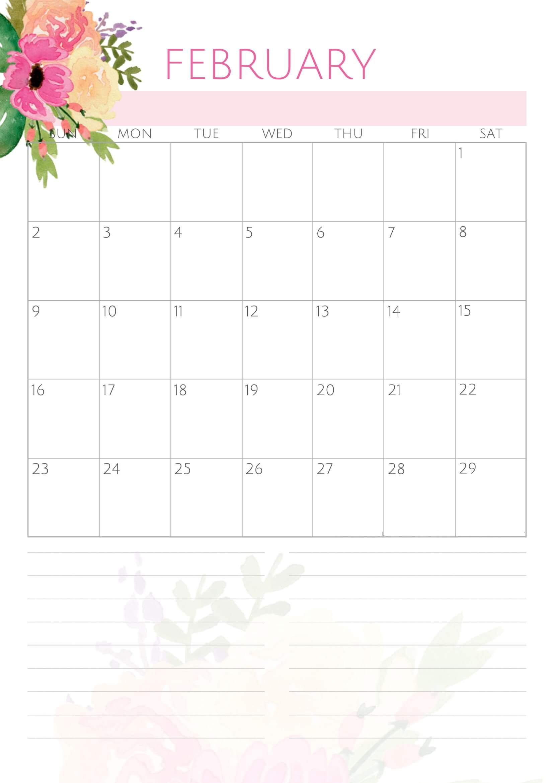 Cute February 2020 Calendar Images