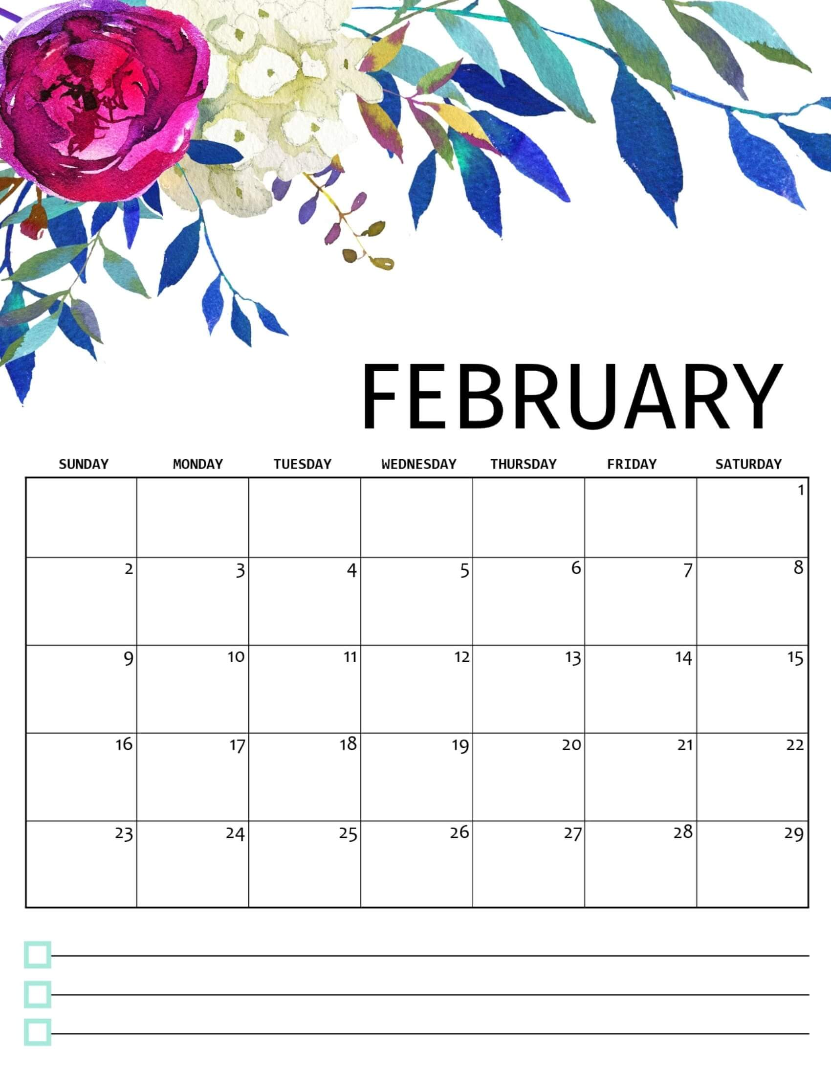 Cute February 2020 Calendar With Notes
