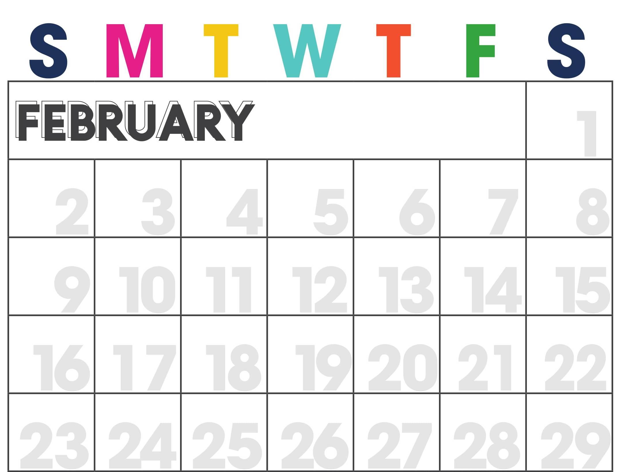 February 2020 Calendar Cute