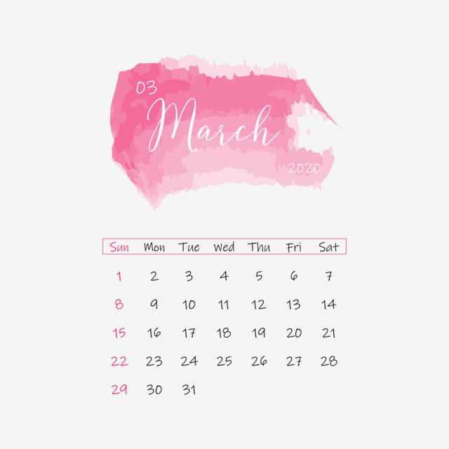 March 2020 Calendar Floral Template