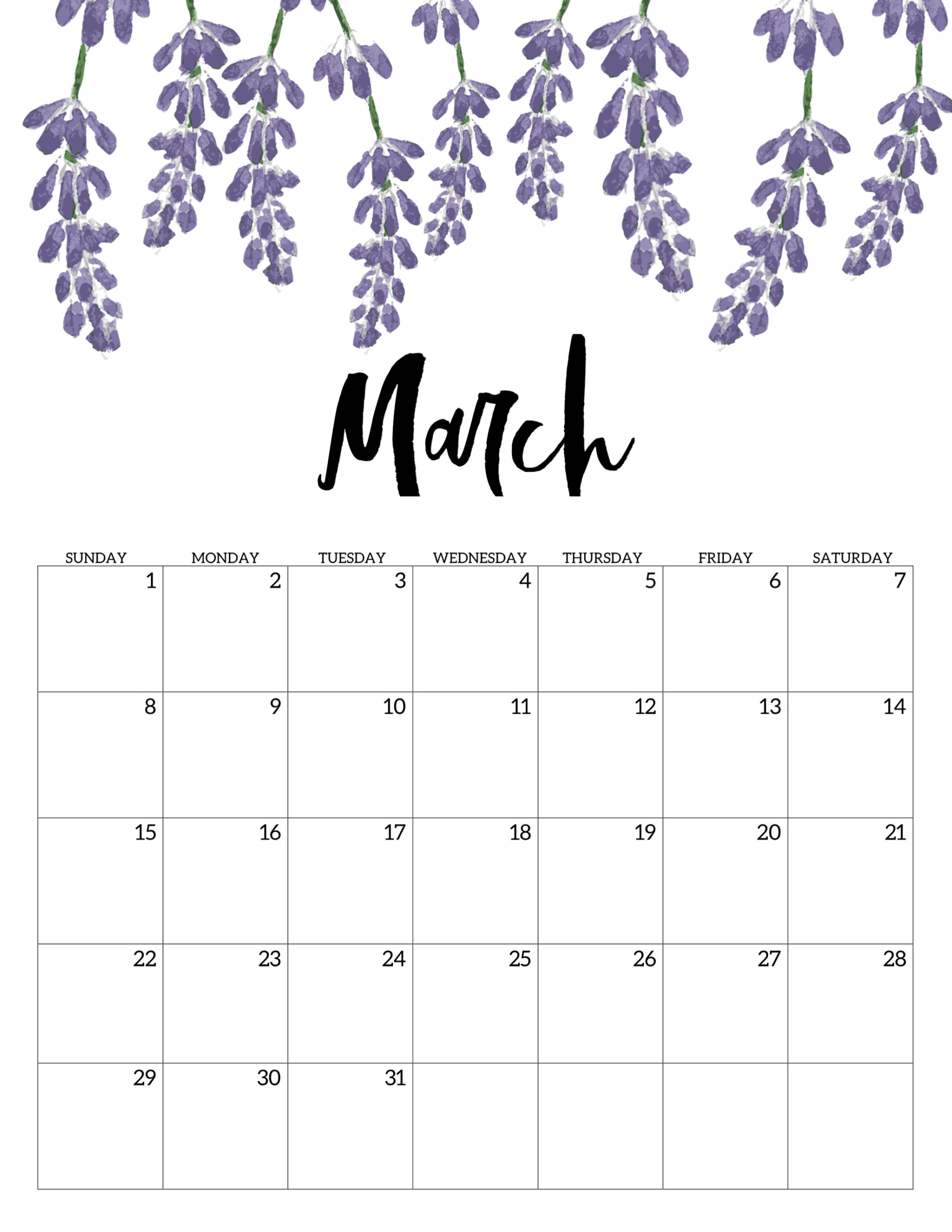 March 2020 Floral Calendar Template