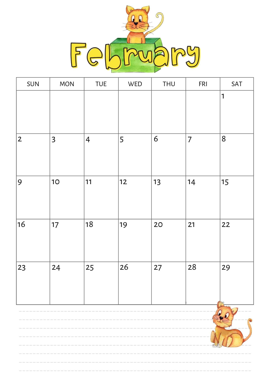 Online Cute February 2020 Calendar