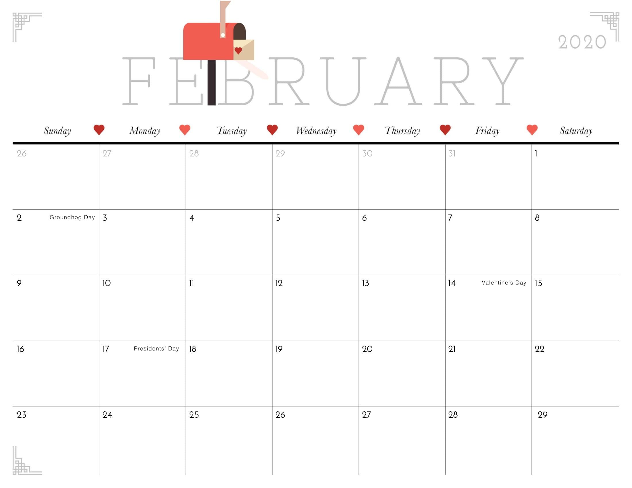 Cute February 2020 Calendar Archives